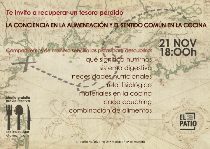 """21 DE NOVIEMBRE: CHARLA SOBRE """"LA CONCIENCIA EN LA ALIMENTACIÓN Y EL SENTIDO COMÚN EN LA COCINA"""""""