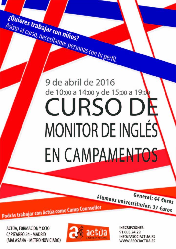 CURSO DE MONITOR DE INGLÉS EN CAMPAMENTOS POR ACTÚA, FORMACIÓN Y OCIO